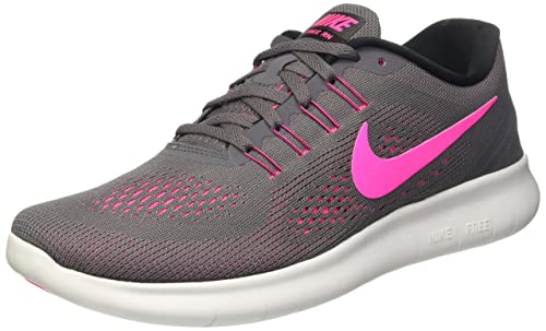 Nike Womens Free RN Running Shoes Dark Grey Pink Blast 831509-006 Size 9.5