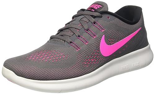 Nike Womens Free RN Running Shoes Dark Grey Pink Blast 831509-006 Size 7.5