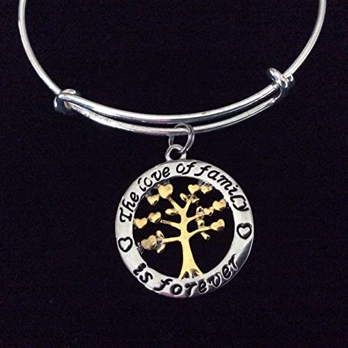 196362545428b The Love of Family is Forever Silver and Gold Expandable Charm Bracelet  Tree of Life