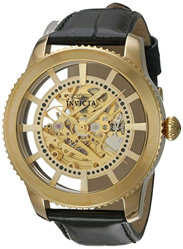 Invicta Men s Vintage Automatic Stainless Steel and Leather Casual Watch, Color Black Gold Model 22571