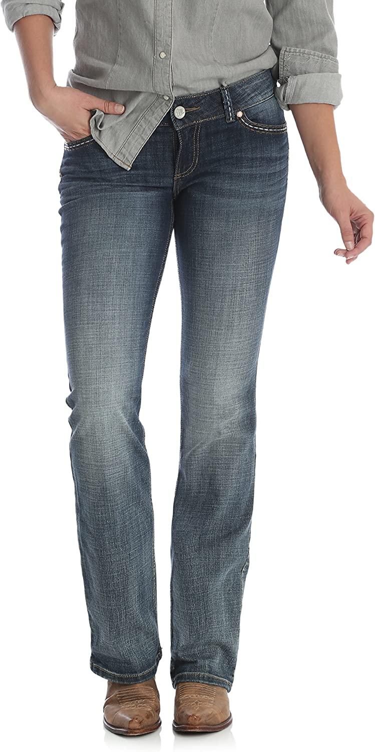Wrangler Damen Retro Sadie Low Rise Stretch Boot Cut Jeans Mittelblau