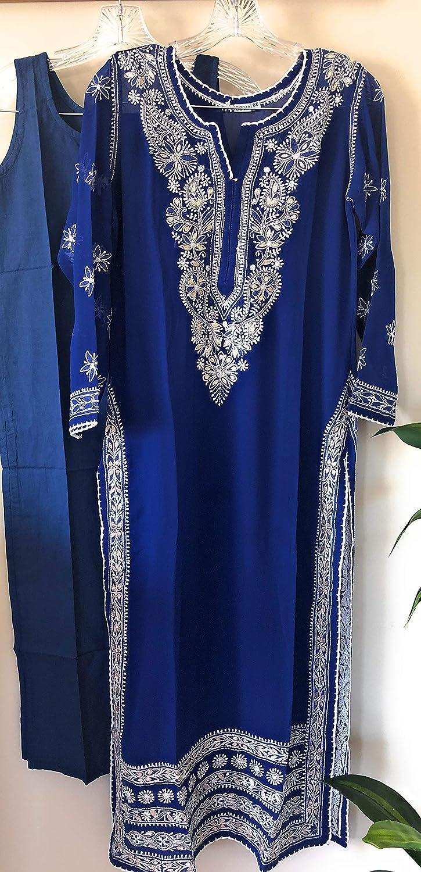 for bust size 34 in Lucknow Chikankari Kurta Suit with Gota Patti work//Kurta and Palazzo//Size:Small 38