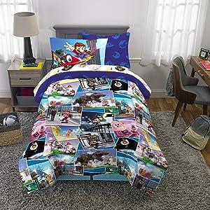Franco Kids Bedding Super Soft Comforter and Sheet Set with Bonus Sham, 5 Piece Twin Size, Mario