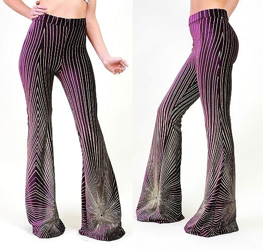 Womens High Waist Palazzo Wide Leg Trousers Lady Velvet Flared Bell Bottom Pants