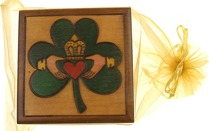 Hickoryville Celtic Top Rectangular Wooden Trick Box Bundled with a Gift Card