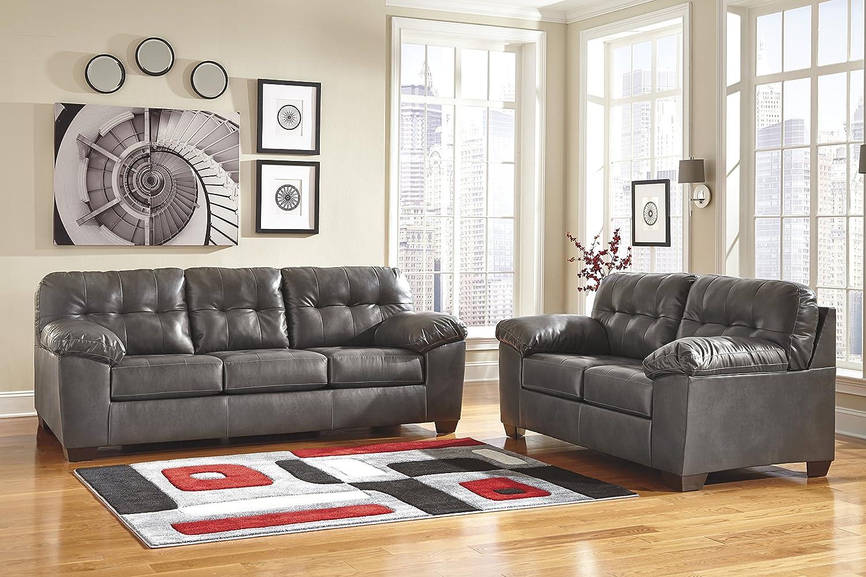 Chocolate Alliston Contemporary Upholstered Loveseat Ashley Furniture Signature Design