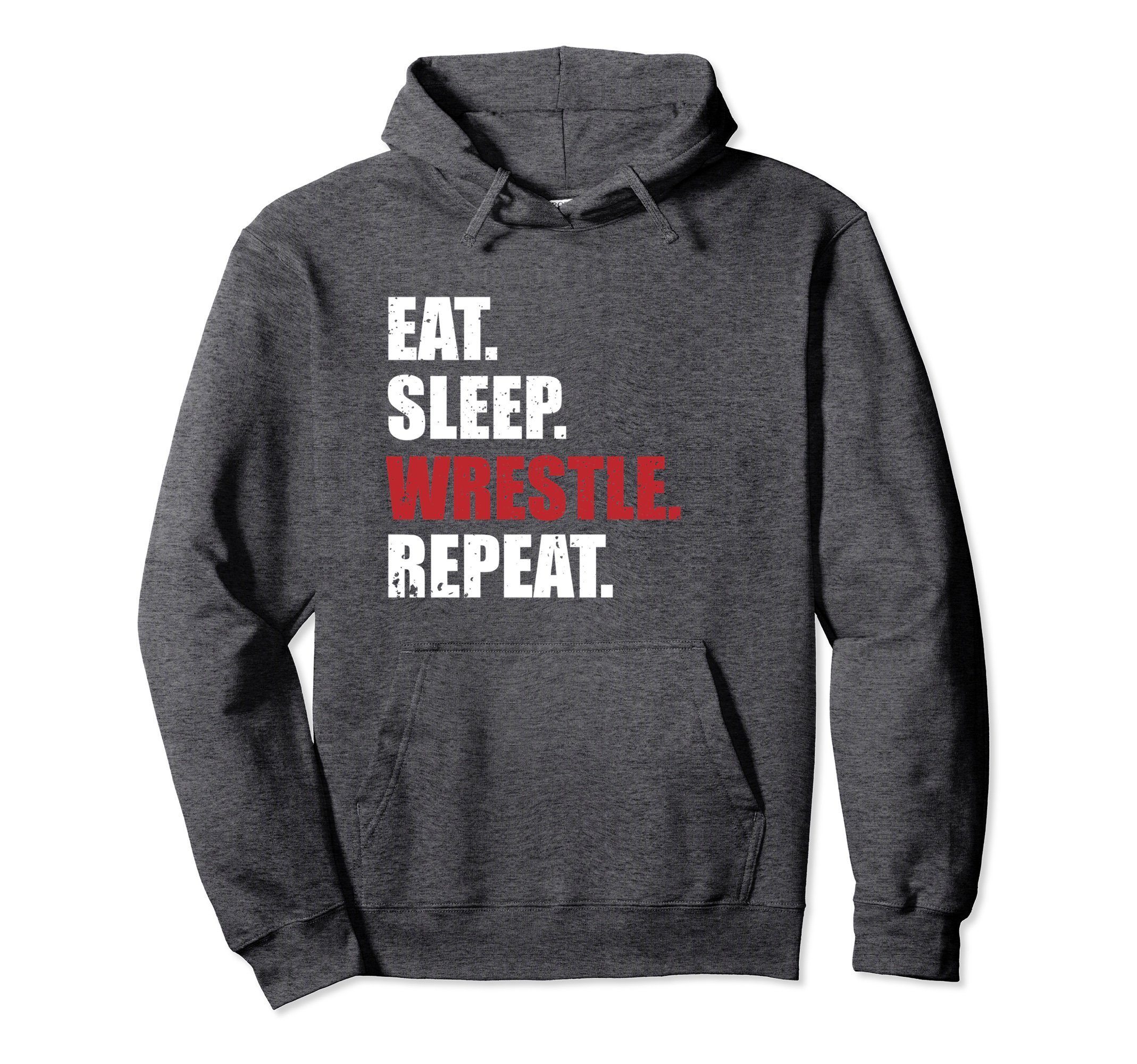 Unisex Eat Sleep Wrestle Repeat Hoodie Medium Dark Heather