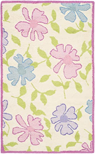 Safavieh Safavieh Kids Collection SFK376A Handmade Ivory and Pink Cotton Area Rug 4 x 6