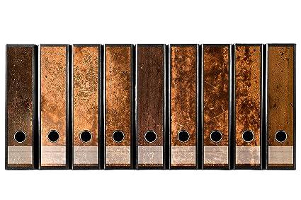 Juego con 9 pieza amplia carpeta de madera rústica etiquetas autoadhesivas archivadores Pegatinas Diseño Marrón Madera