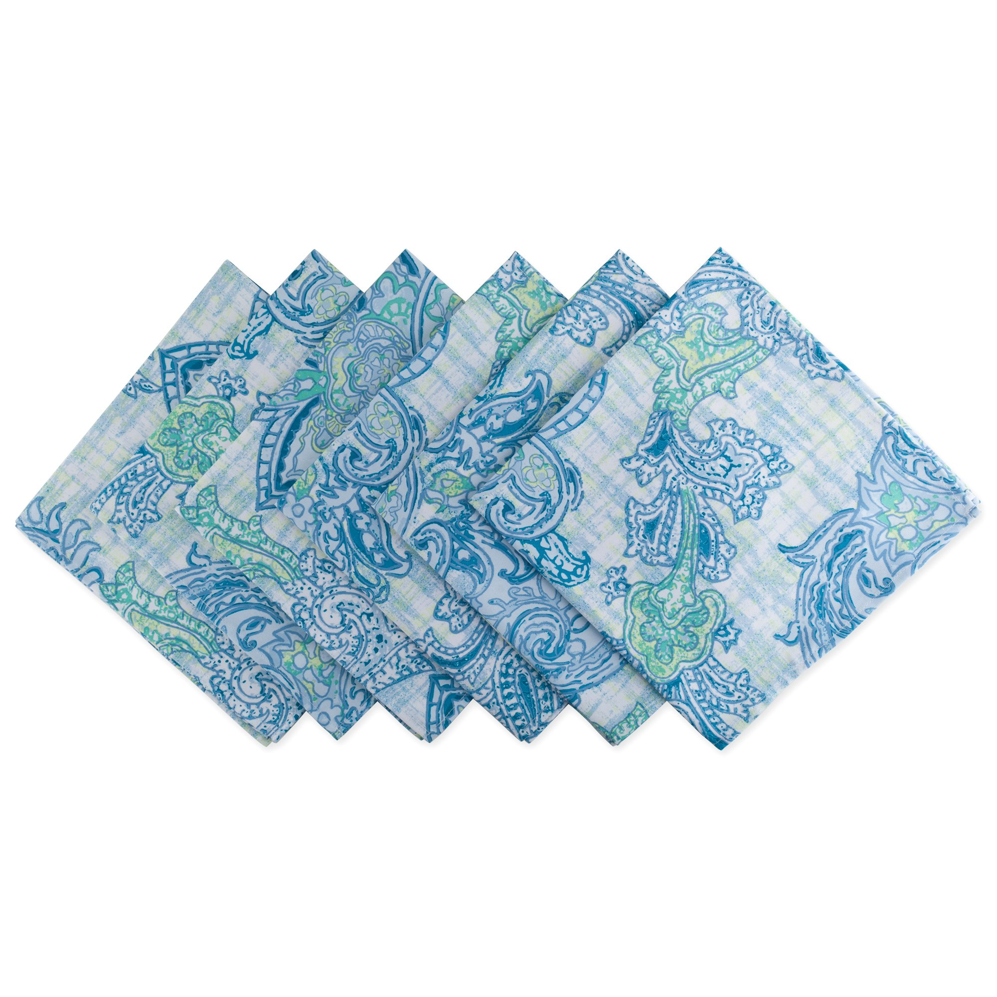 DII Cloth Napkins for  Everyday Place Settings, Family Gatherings, BBQ's, Holiday Parties, & Catering Events, Oversized & Stain Resistant for Indoor/Outdoor Use (20x20'' - Set of 6) Blue Paisley by DII