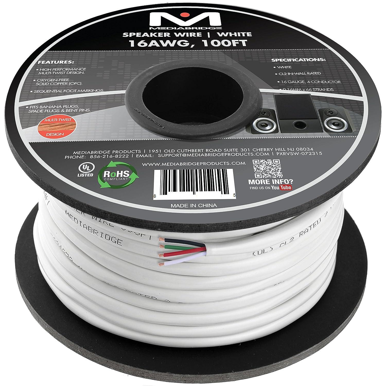 Amazon.com: Mediabridge 16AWG 4-Conductor Speaker Wire (100 Feet ...