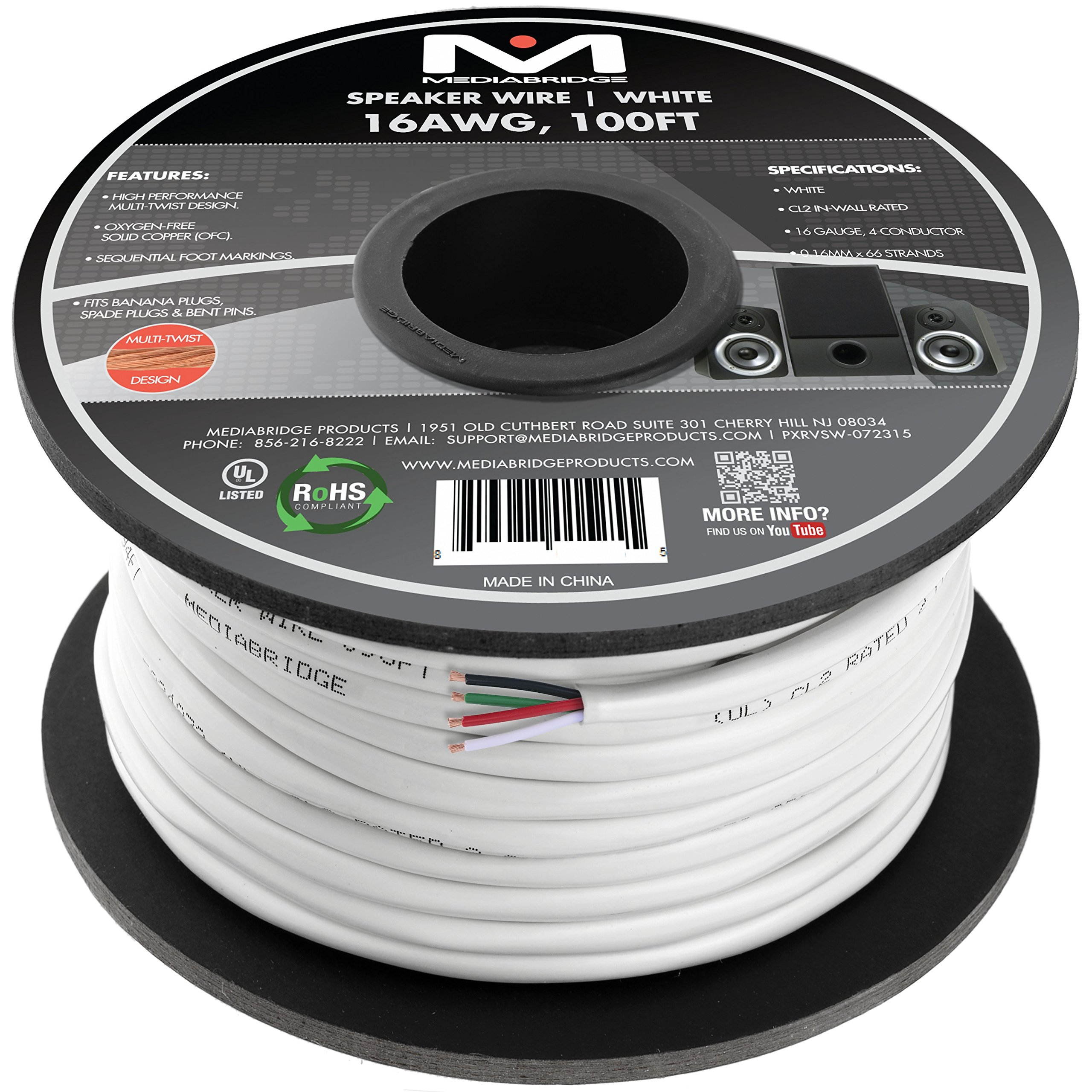 Mediabridge 16AWG 4-Conductor Speaker Wire (100 Feet, White) - 99.9% Oxygen Free Copper - CL2 for In-Wall ( SW-16X4-100-WH )
