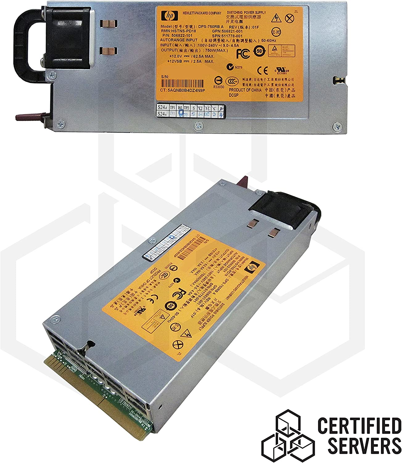 HP - 750W Common Slot Gold Redundant HE Power Supply for ProLiant DL160 G6 and DL165 G7 Servers. Mfr. P/N: DPS-750RB.