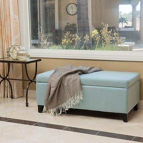 Amazoncom Brenway Pattern Fabric Storage Ottoman Blue Kitchen