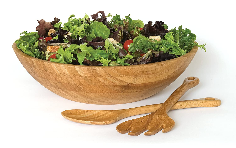 Large Lipper International 8204-3 Bamboo Wood Salad Bowl with 2 Server Utensils 14 Diameter x 4 Height 3-Piece Set