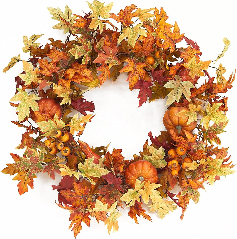 Melrose International 24-Inch Diameter Maple Leaf Wreath with Pumpkins
