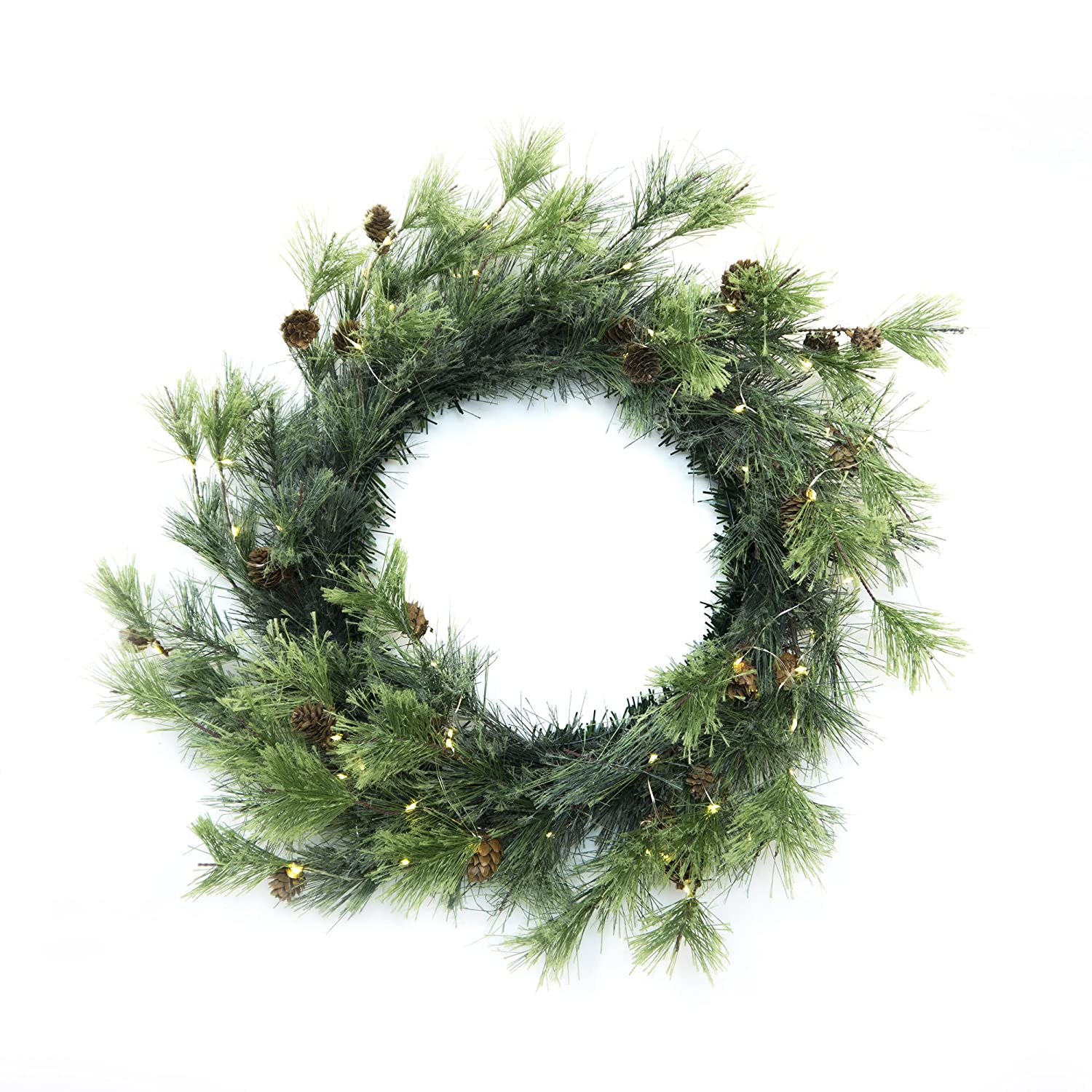 Christmas Smokey Pine Wreath with Firefly Lights