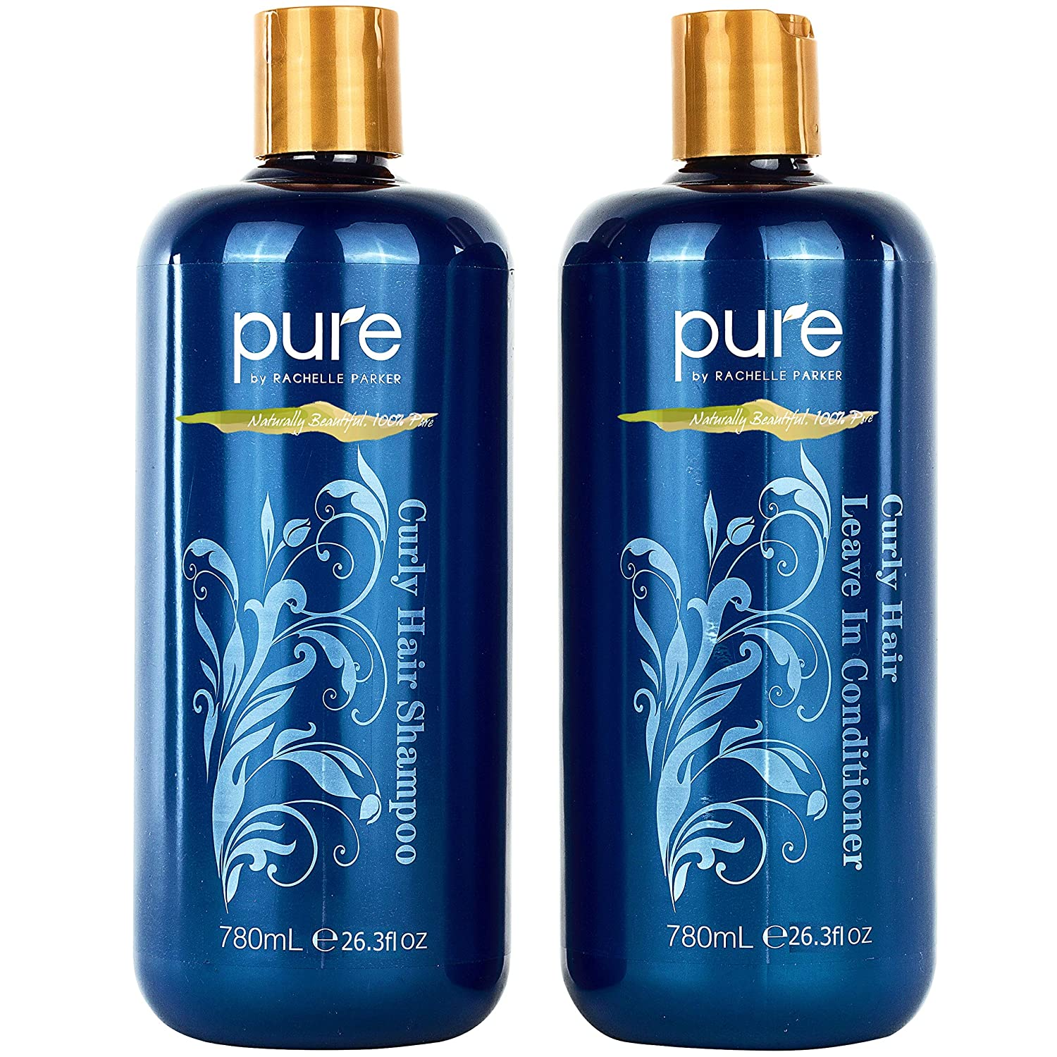 Curly Hair Shampoo and Conditioner Set for Curly Hair. Increase Hydration & Gloss. Repairs & Strengthens Hair for Smooth, Bouncy Curls. Sulfate & Paraben Free.Curly Hair Leave in Conditioner & Shampoo