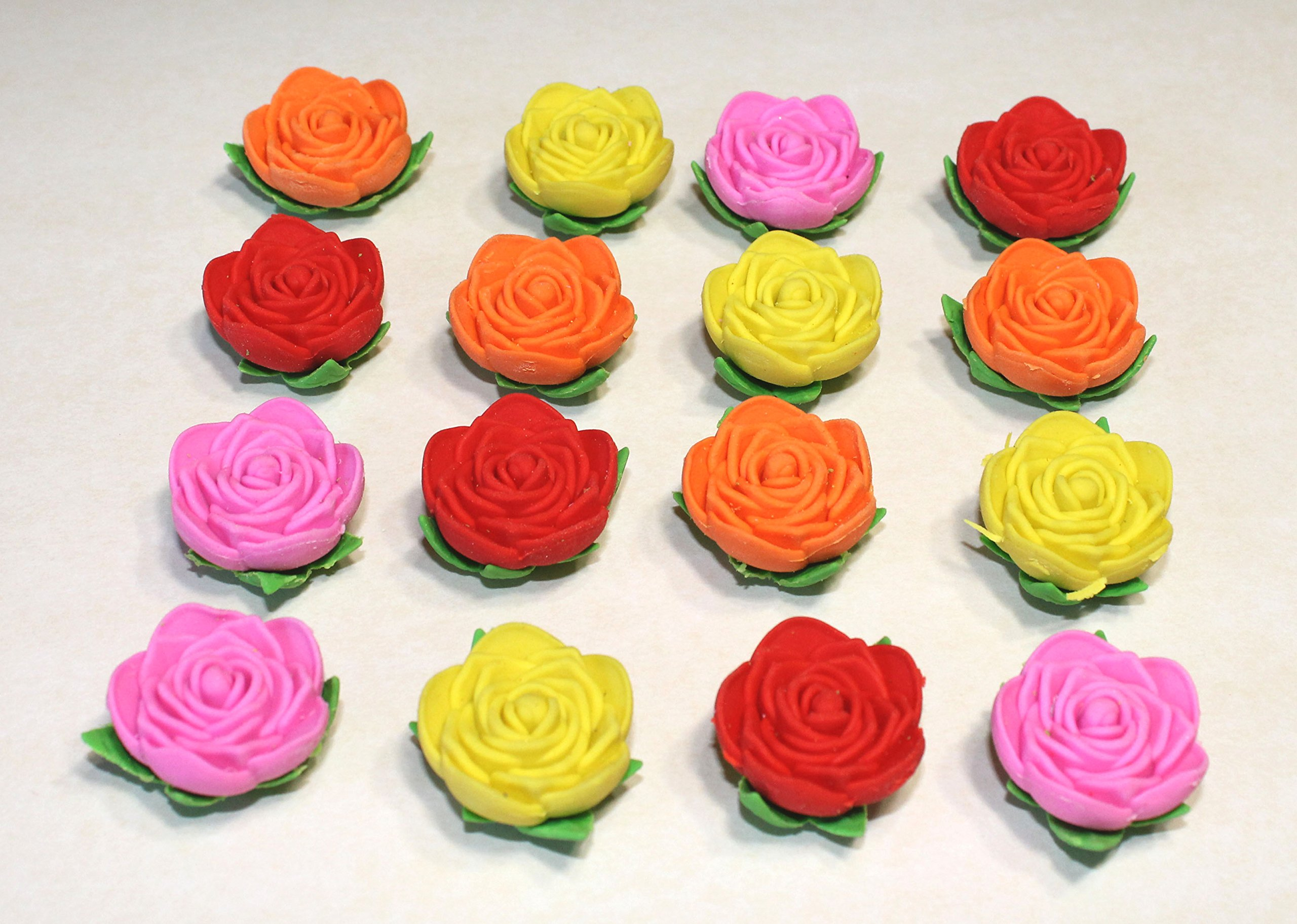 Lucore Rose Pencil Top Erasers - 16 pcs Colorful Flower Shaped Kids Pen Cap Toppers by Lucore Home (Image #2)