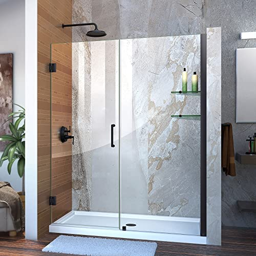 DreamLine Unidoor 58-59 in. W x 72 in. H Frameless Hinged Shower Door with Shelves in Satin Black, SHDR-20587210S-09