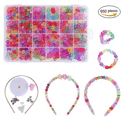Créatifs diy De Bracelet 24 L'atelier Loisirs Kit Perles Collier En Pvc Plastique Compartiments Pour Fabrication Bijoux Enfants Coloré gyvYf67b
