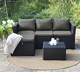 View U0026amp; Co Patio Furniture 3 PCS Outdoor Sectional Furniture Set P.E  Rattan Conversation Sets