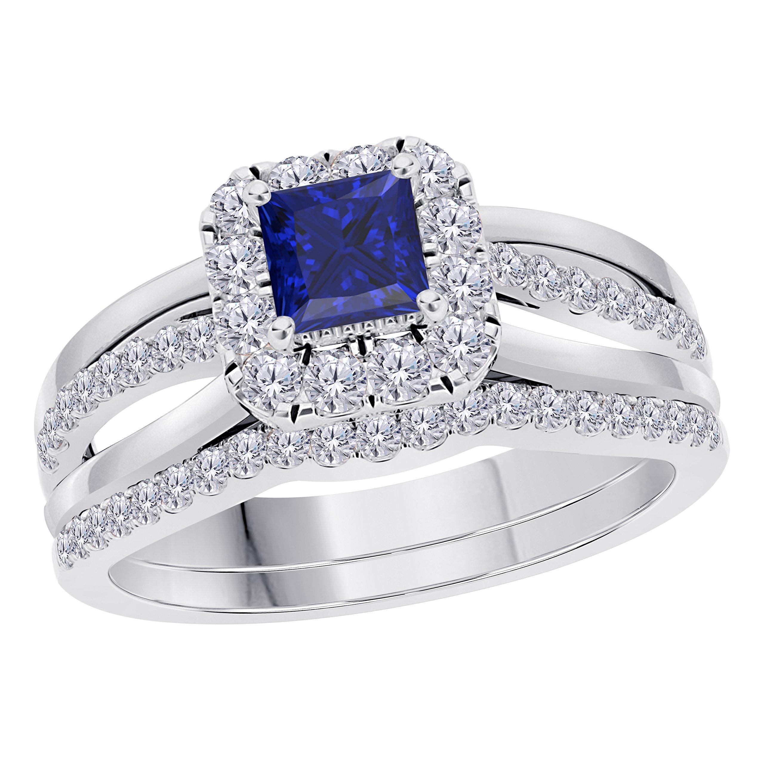 Jewelryhub 2CT Princess Cut Cz Blue Sapphire 925 Sterling Silver Wedding Bridal Set Split Shank Halo Engagement Ring Set Size 4-12