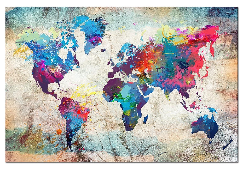 Neuheit  Weltkarte mit mit mit Kork Rückwand 90x60 cm - XXL Format - einteilig Bilder Leinwandbild Poster Pinnwand Kunstdruck – WeltKarte Kontinente Welt Karte k-B-0027-p-a 90x60 cm B&D XXL 06420e