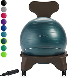 Gaiam Classic Balance Ball Chair – Exercise Stability Yoga Ball Premium Ergonomic Chair for Home and Office Desk with Air Pump, Exercise Guide and Satisfaction Guarantee