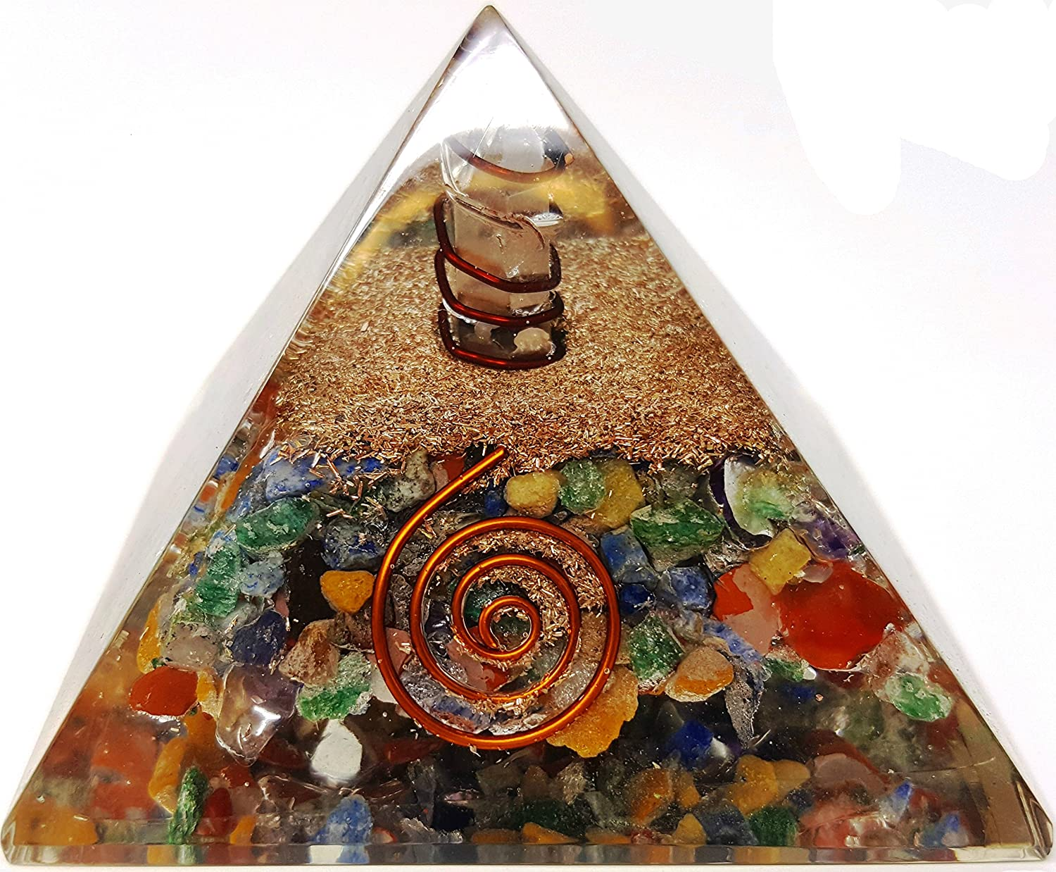 7 Chakra Crystal Orgone Pyramid Kit / Includes 4 Crystal Quartz Energy Points / EMF Protection Meditation Yoga Energy Generator People Crystals THUSHK285