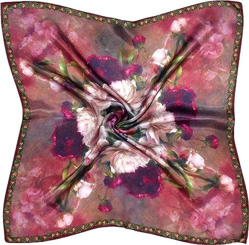 Bees Knees Fashion – Bufanda – Rojo Flor Blanca Impreso Pequeño Pañuelo De Cuero De Seda Gruesa