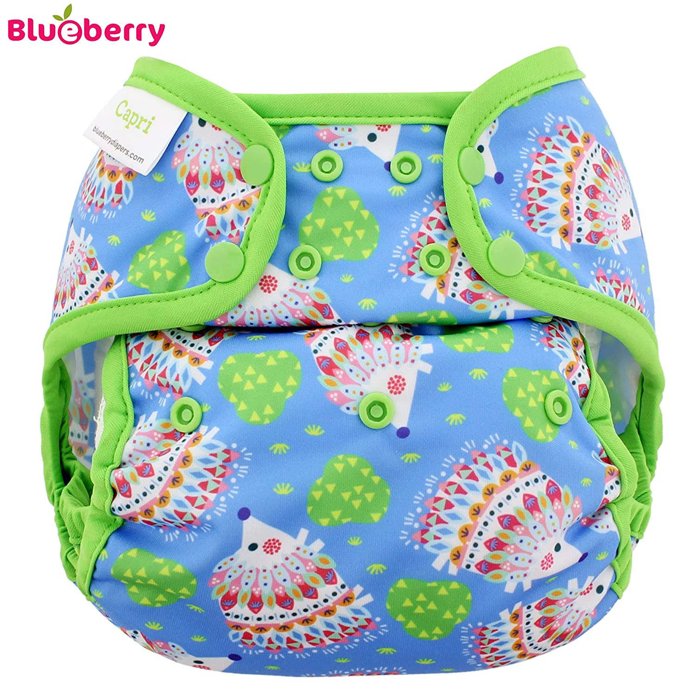 Blueberry Capri cubrepañales–hedgehogs (druc Grava)–One Size (5,5–16kg)–Plástico pañales pañales a través de pantalones, pantalones, prefolds Adecuado