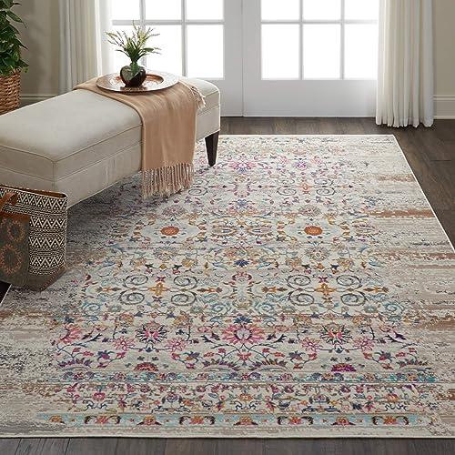 Nourison Vintage Kashan Multicolor Boho Area Rug 5, 5 3 X7 10 , IVORY
