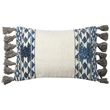Loloi P0617 Pillow Cover with Down Fill, 13  x 21 , Blue/Ivory