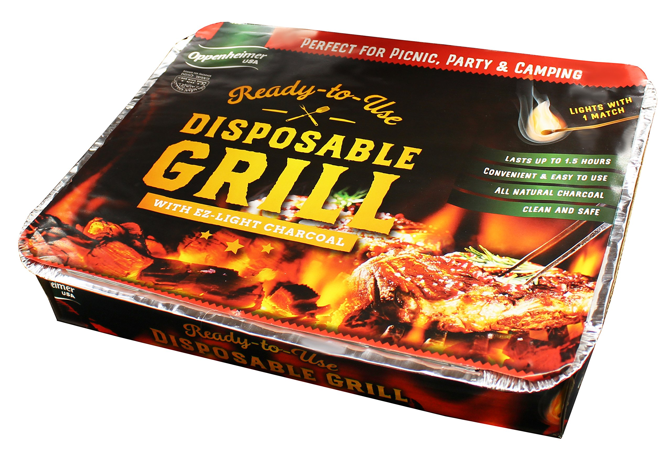 Disposable Charcoal Grill On-the-Go Ready to Use EZ To Light Kosher By Oppenheimer USA