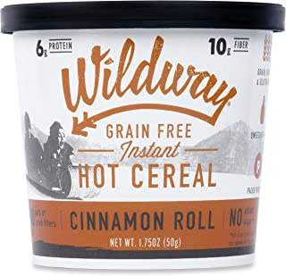 product image for Wildway Vegan Hot Cereal Cups | Cinnamon Roll | Certified Gluten Free Instant Breakfast Cereal, Low Carb Snack | Grain-Free, Keto, Paleo, Non-GMO, No Artificial Sweetener | 6 pack