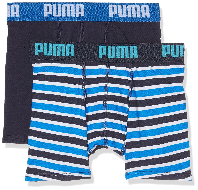 Puma 2-Pack Printed Stripe Boys Boxer Briefs, Blue/Navy