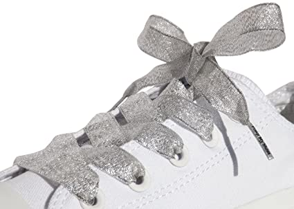 3bf1c2d462b2a4 Silver Satin Ribbon Shoe Laces   Shoe Strings To Fit Converse Sneakers in  Lo s   Hi Tops   Similar Kicks Pumps Trainers. From a Stylish UK Brand with  Our ...