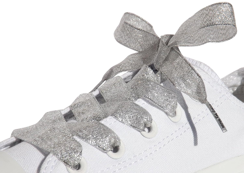 c5195fb4d6143e Amazon.com  Sparkly Silver Flat Ribbon Shoelaces