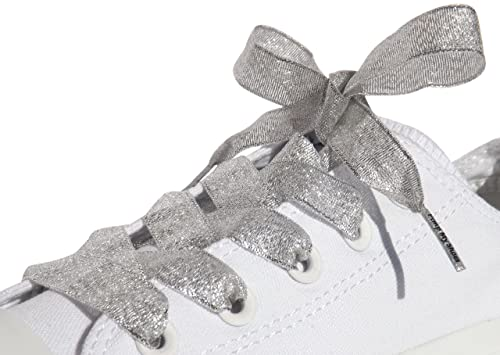 9a8dd9c5a98 High Fashion Sparkly Silver Satin Ribbon Shoe Laces   Shoe Strings To Fit Converse  Sneakers in