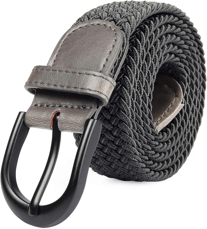 Braided Stretch Elastic Web Belt Pin Oval Black//Nickel Buckle Leather Loop Tip Men//Women//Junior