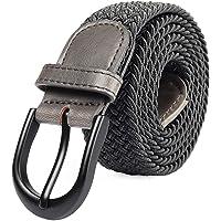 Mile High Life Cinturón elástico trenzado elástico con pasador ovalado Hebilla completa de cuero negro con hombre/mujer / extremo júnior (7 tamaños 12 colores)