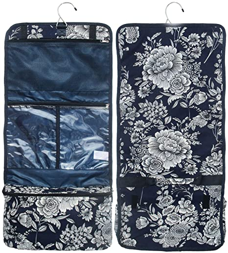 11401b3d0f TravelNut Style 52  Top Trendy Blue Floral Flower Print Hanging Toiletry  Cosmetic Jewelry Makeup Overnight