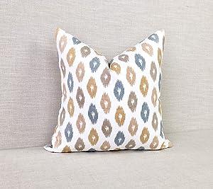 Diuangfoong Single-Print Robert Allen Ikat Pillow Cover // Brown and Blue // Golden Ikat Throw Pillow Cover // Square Lumbar and Euro C34