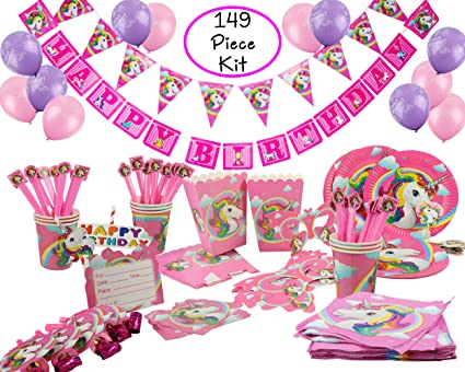 Rainbow Unicorn Birthday Party Supplies And Decorations Kit Serves 10 With Plates Cups Napkins Utensils Banners Balloons And Invitations 149