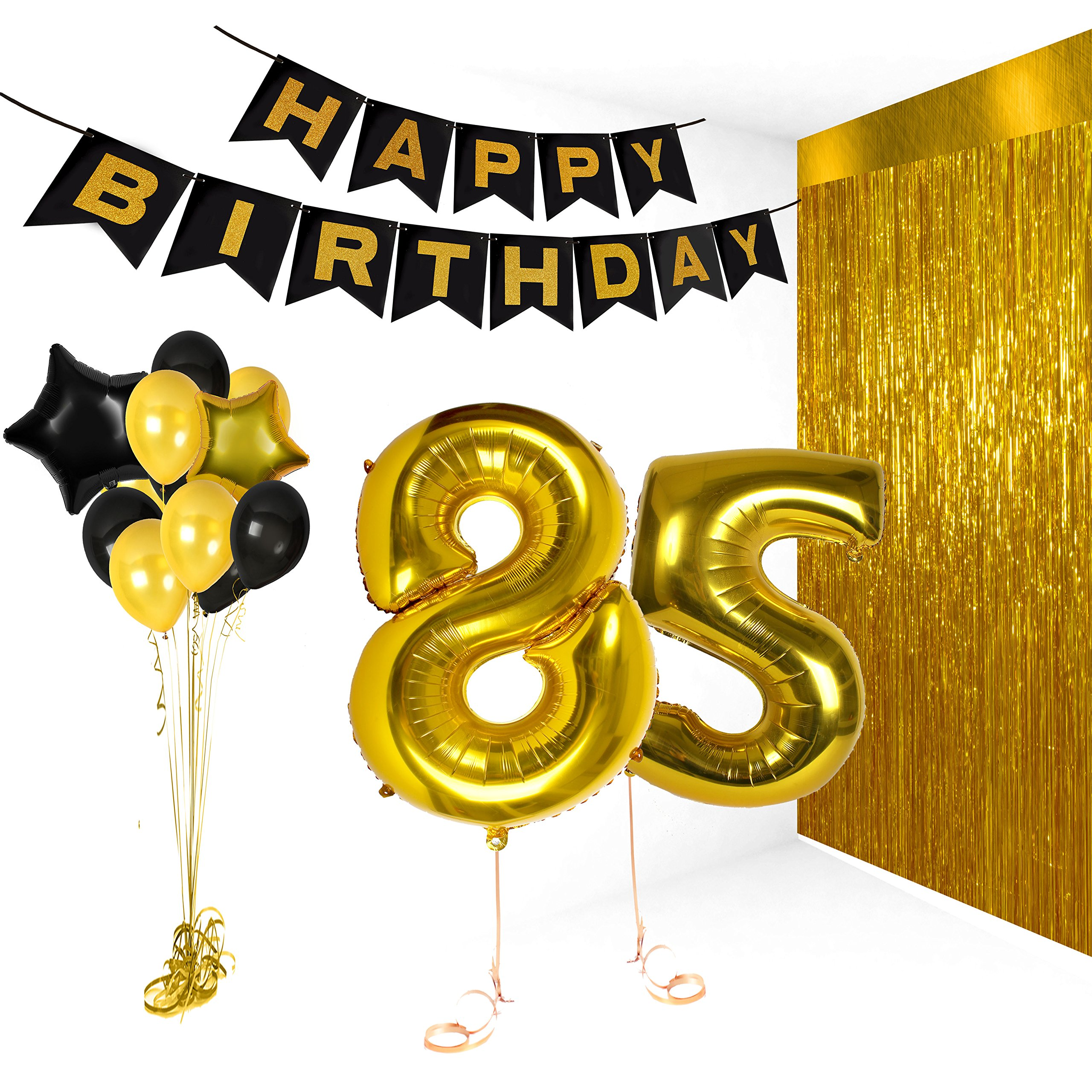 Details About Treasures Gifted Happy 85th Birthday Party Decorations Supplies Kit Gold