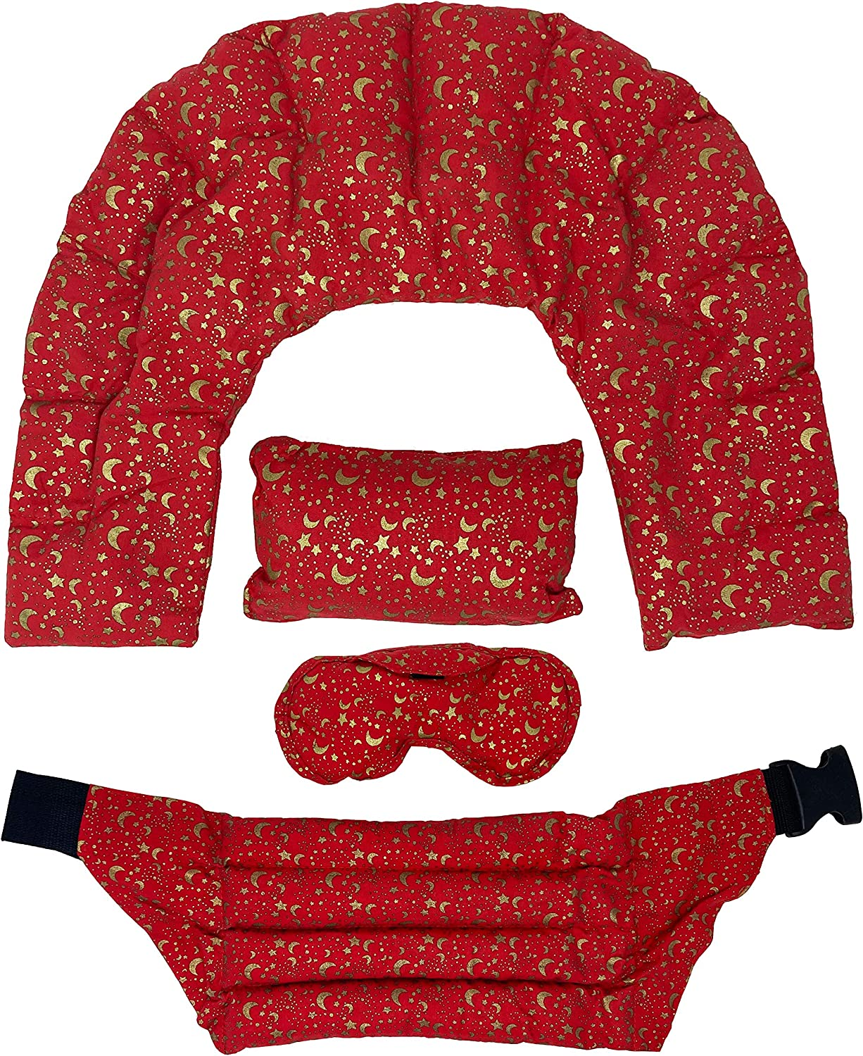 Nature's Approach A-HP-125-RED Home Spa 4-Piece Heating Pad Set with Herbal Aromatherapy Fill Freezer Safe and Microwavable for Hot and Cold Therapy, Red