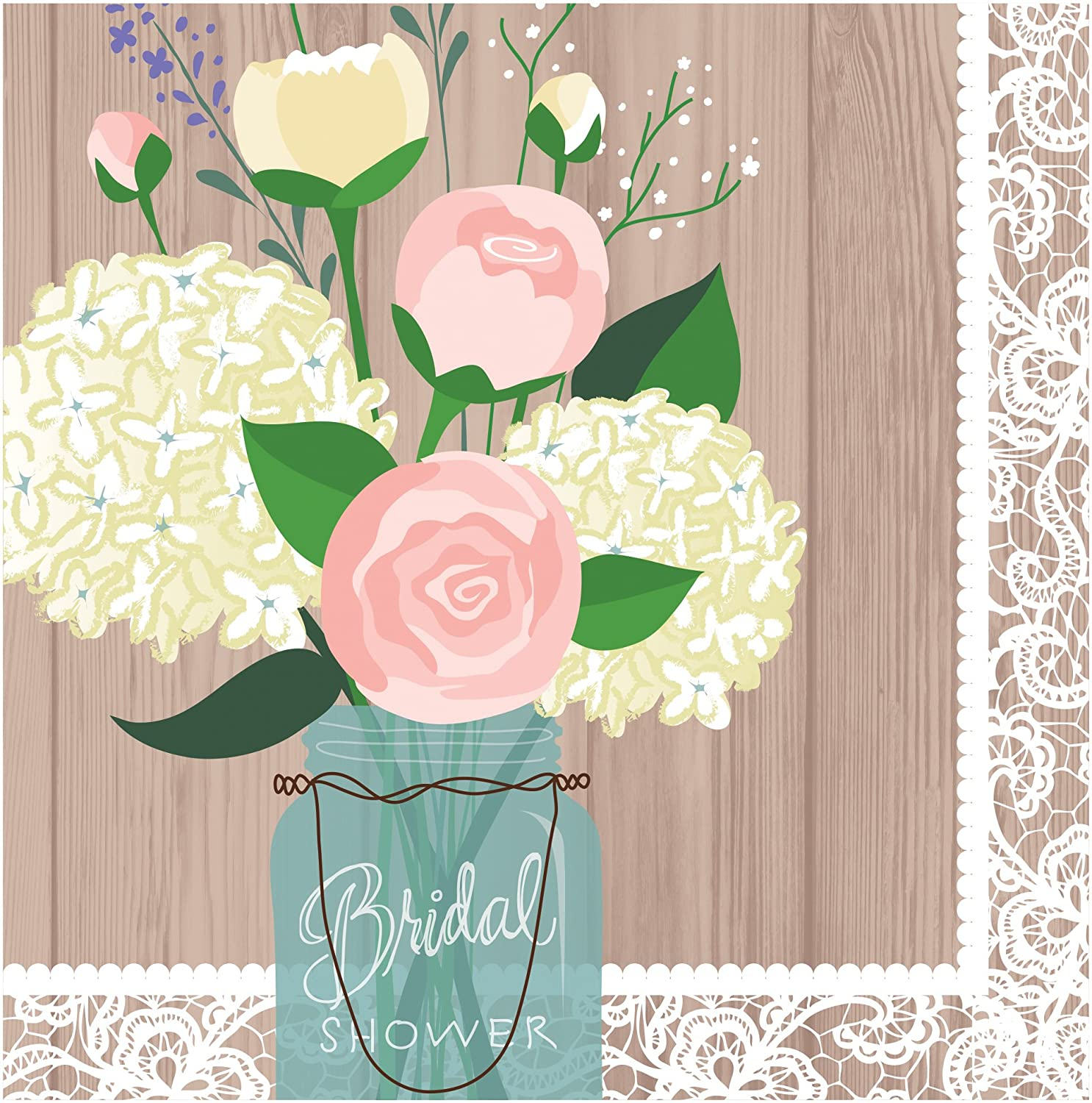 Amazon.com: Creative Converting 48 Count 3 Ply Bridal Shower Rustic ...