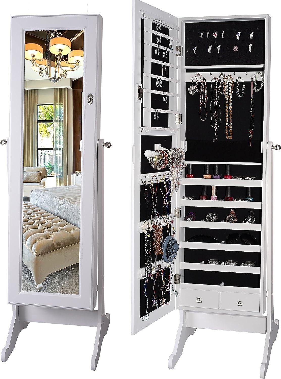 BTEXPERT Premium Wooden Jewelry Armoire Cabinet Floor Stand Organizer Storage Box