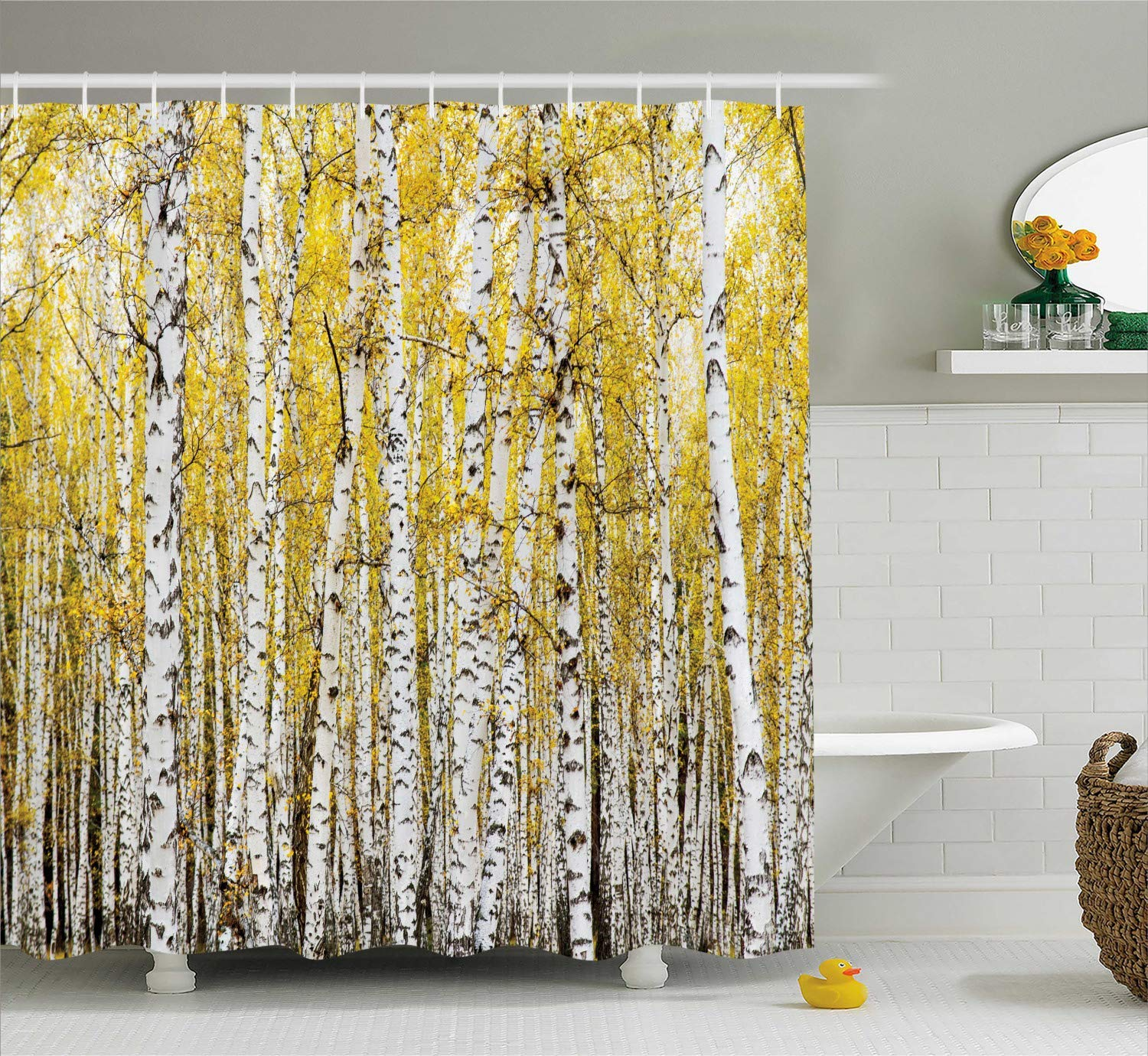 Printing Farm House Decor Shower Curtain Set, Autumn Birch Forest Golden Leaves Woodland October Seasonal Nature Picture, PVC Free, Non-Toxic and Odorless Water Repellent Fabric, 72 x 84 Inches